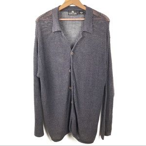 Structure Linen Blend Slouchy Knit Cardigan
